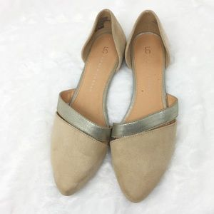 LC Lauren Conrad Nude Gray Flats Size 9M